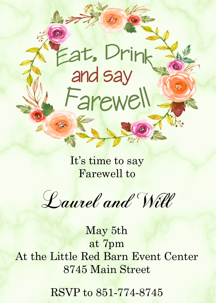 Going Away Party Invitation Luxury Going Away Party Invitations New Selections Summer 2018