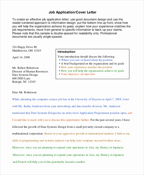 Google Cover Letter Template New 14 Sample Letter Of Applications – Pdf Word Apple Pages
