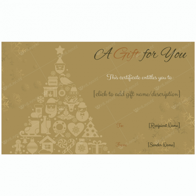 Google Docs Certificate Template Luxury Golden Trees Christmas Gift Card Template Word Layouts