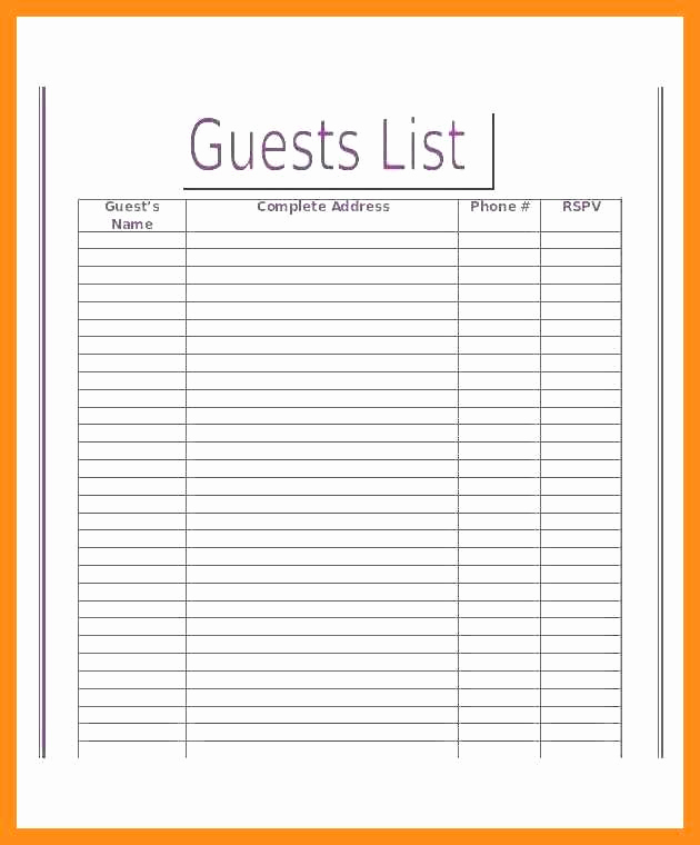 Google Docs Checklist Template Elegant 12 13 Guest List Template Google Docs