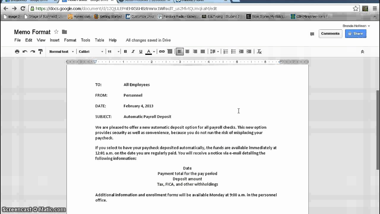 Google Docs Letter Template New Memorandum format Google Documents