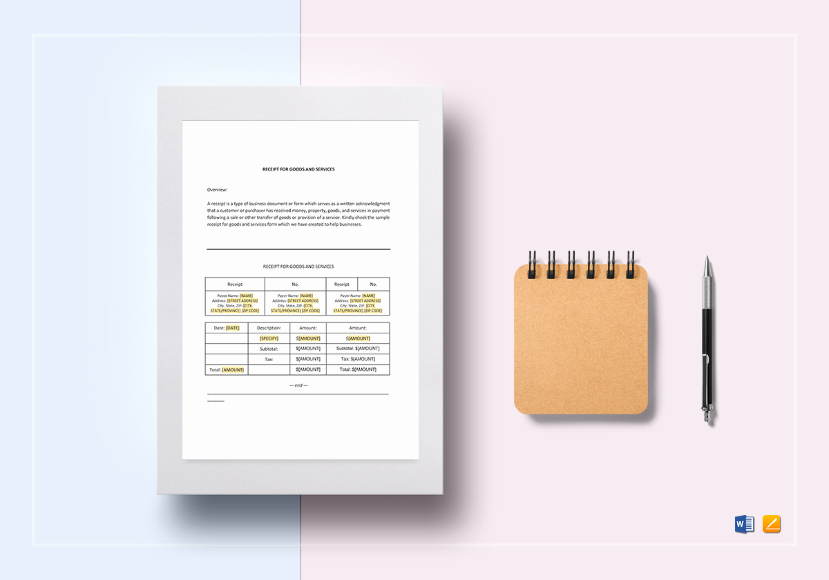 Google Docs Receipt Template Best Of Receipt for Goods or Services Template In Word Google