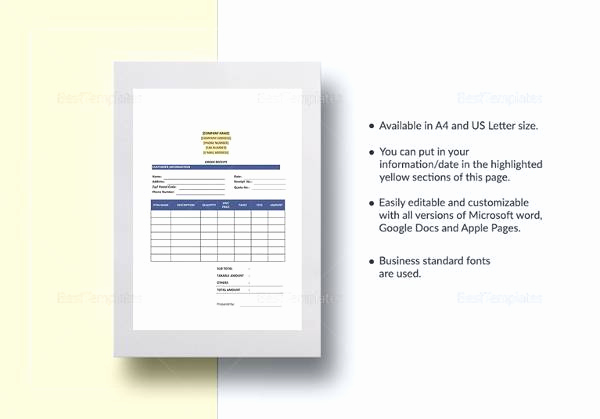 Google Docs Receipt Template Luxury 23 order form Templates Download