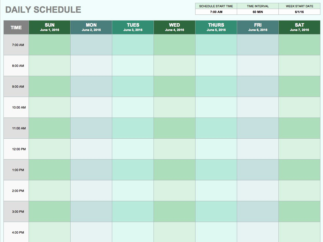 Google Sheets Schedule Template Awesome Free Daily Schedule Templates for Excel Smartsheet