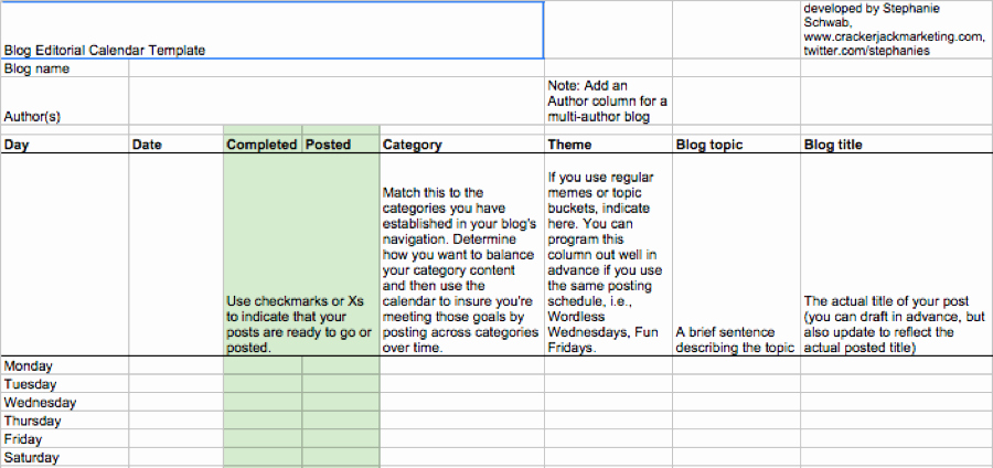 Google Sheets Schedule Template Inspirational Editorial Calendar Templates for Content Marketing the