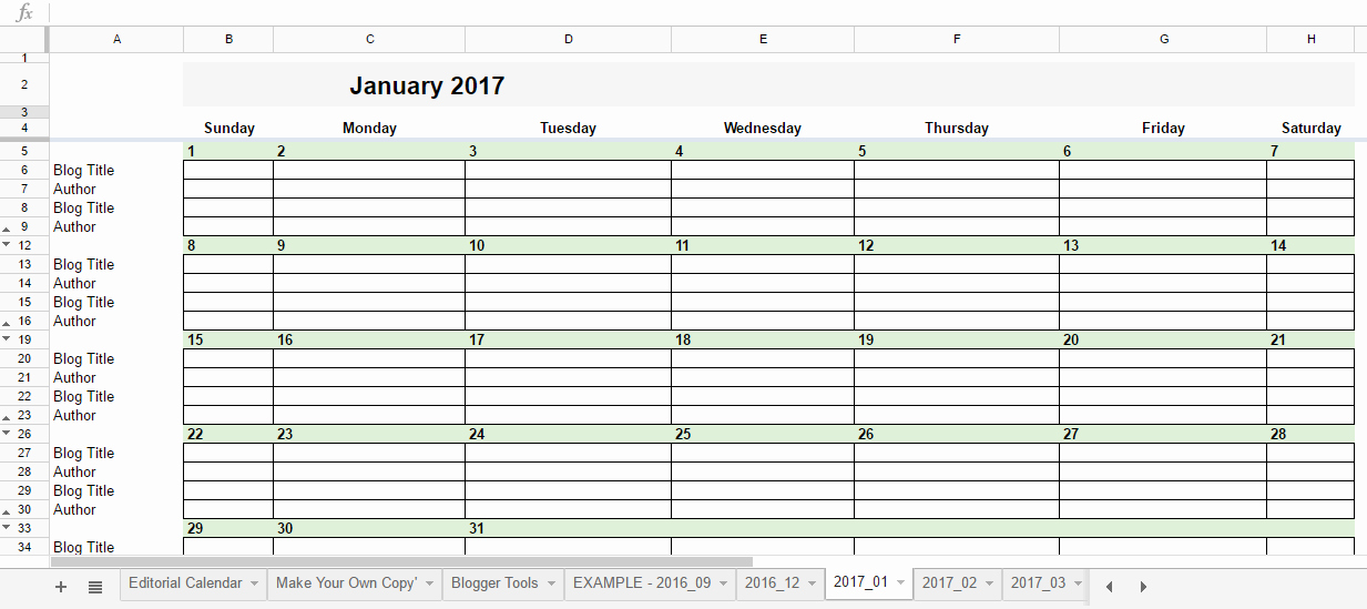 Google Sheets Schedule Template Unique Free 2017 Editorial Calendar In Google Spreadsheets