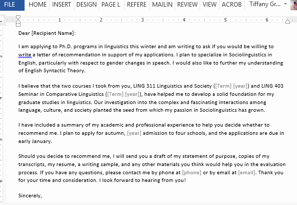 Grad School Letter Of Recommendation Inspirational Letter Requesting Graduate School Re Mendation Sample