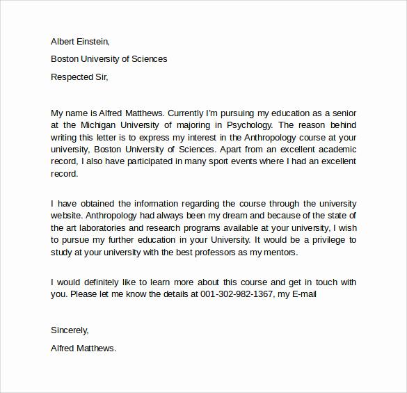 Graduate School Letter Of Intent Inspirational Letter Intent Graduate School 7 Free Samples