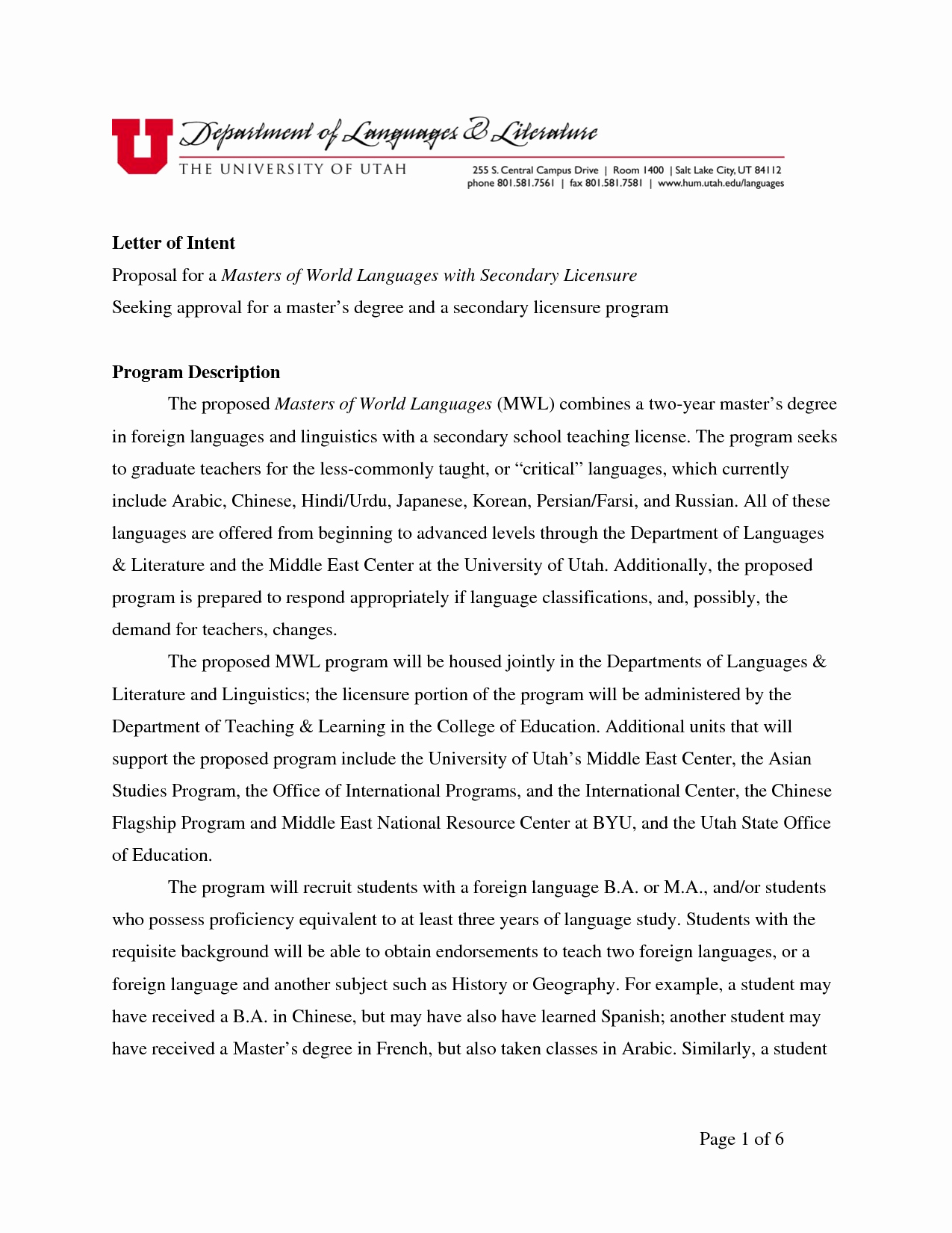 Graduate School Letter Of Intent Luxury Sample Letter Intent for Grad School Admission
