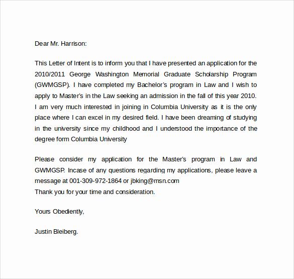 Graduate School Letter Of Intent Unique Letter Intent Graduate School 7 Free Samples