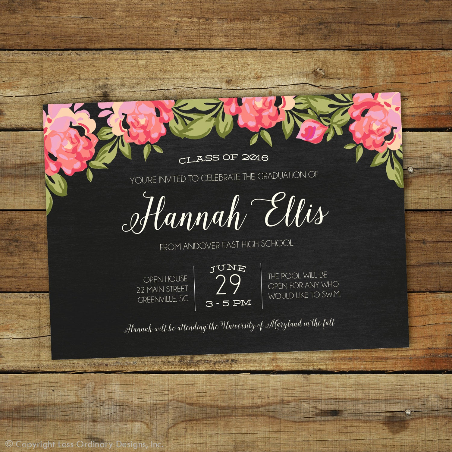 Graduation Party Invitations Templates Awesome 2017 Graduation Party Invitation Floral Graduation Open House
