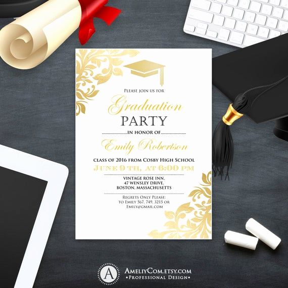 Graduation Party Invitations Templates Awesome Graduation Party Invitation Template Printable Gold Foul Girl