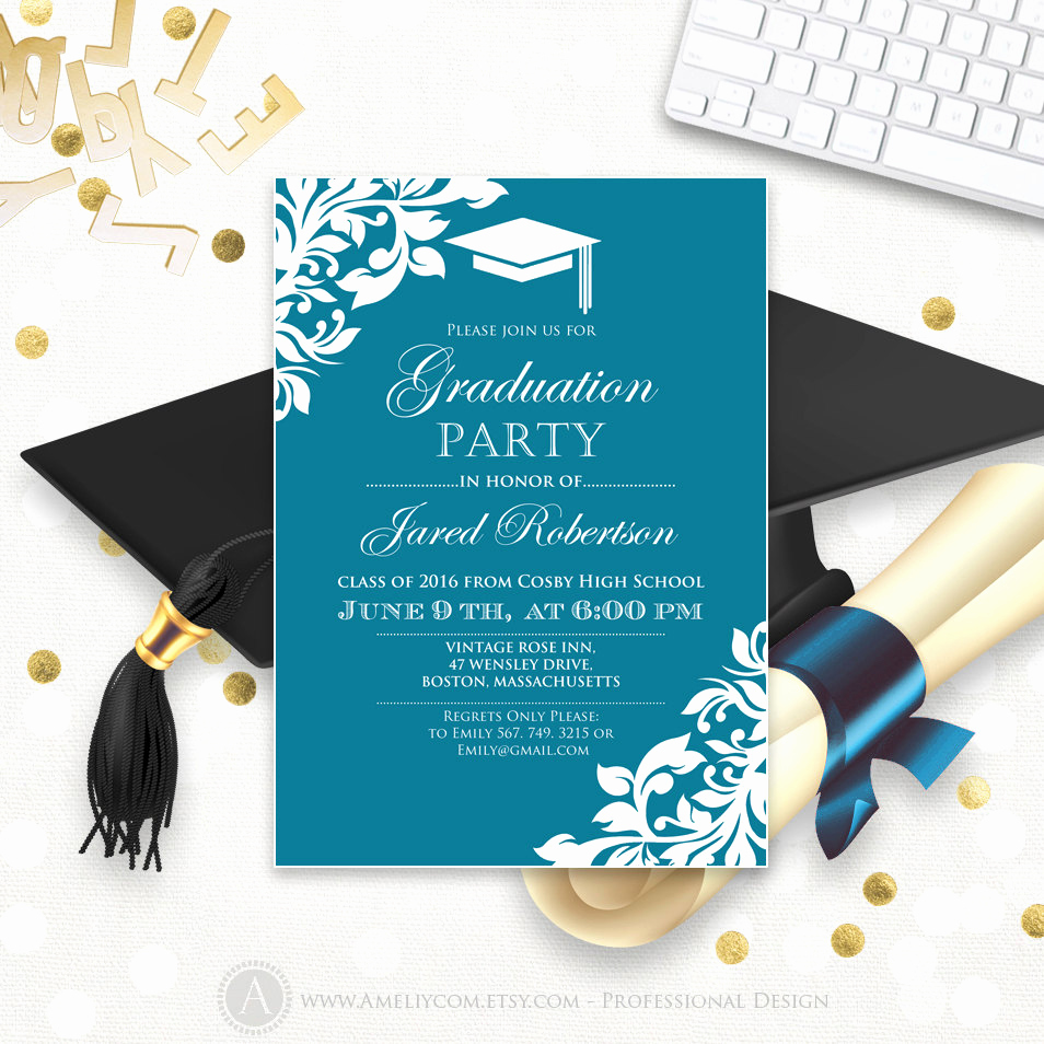 Graduation Party Invitations Templates Awesome Printable Graduation Party Invitation Template Blue Teal High