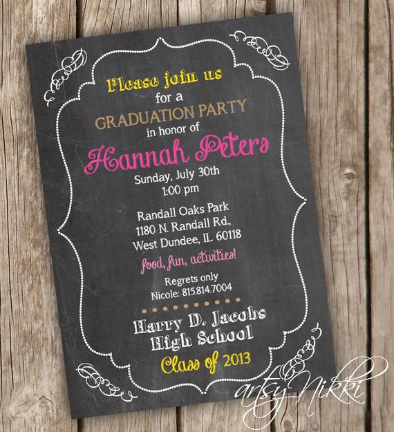 Graduation Party Invitations Templates Elegant Graduation Party Invitation Chalkboard Style Graduation
