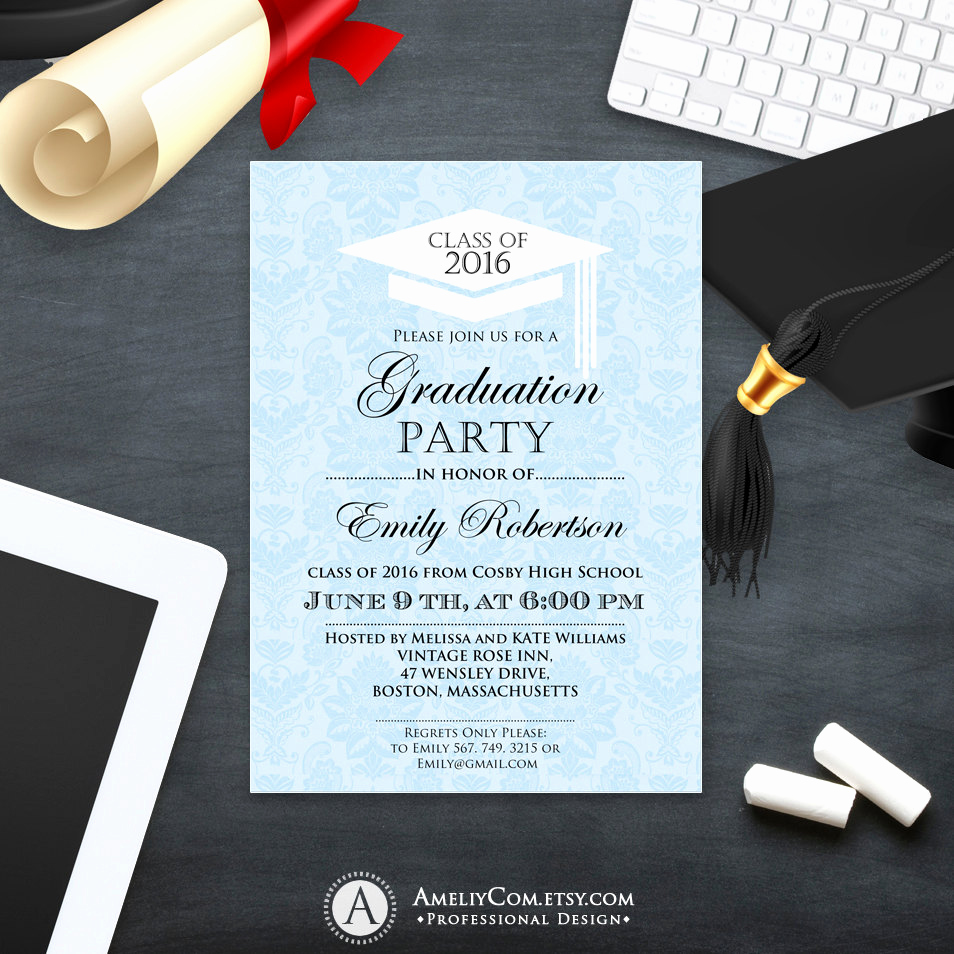 Graduation Party Invitations Templates Elegant Printable Graduation Invitation Template College Graduation