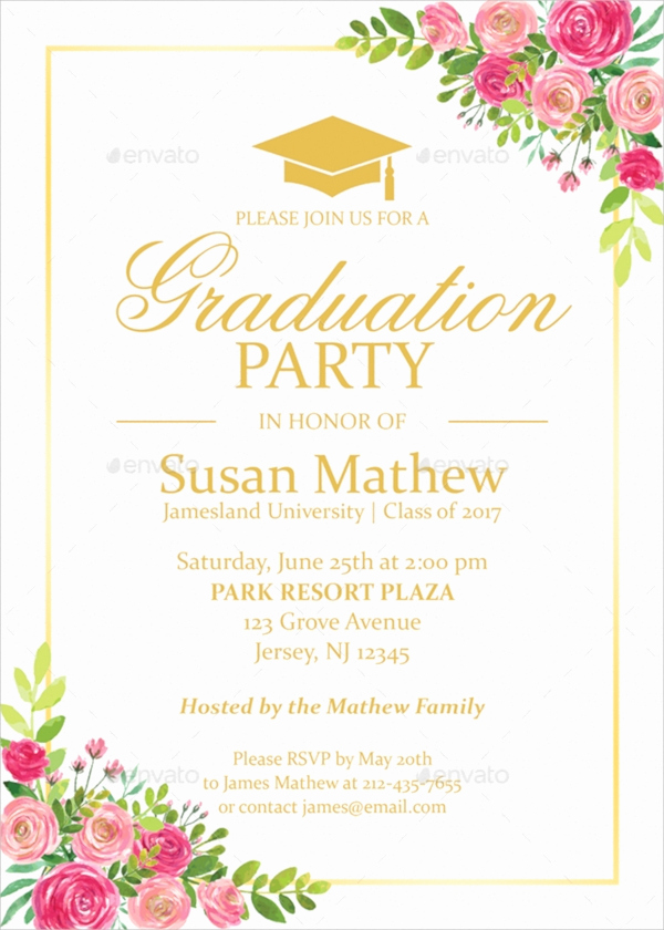 Graduation Party Invitations Templates Fresh 19 Sample Graduation Invitations