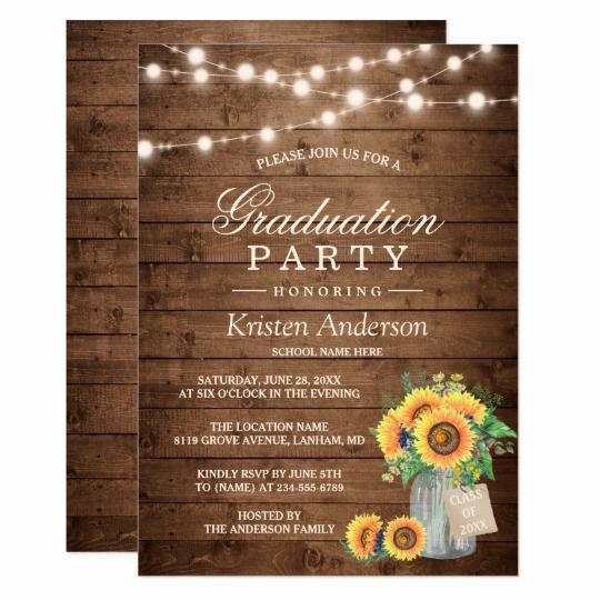 Graduation Party Invitations Templates Luxury Rustic Sunflowers String Lights Graduation Party