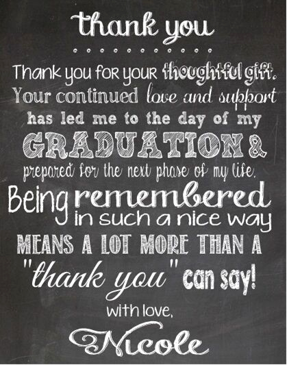 Graduation Thank You Letter Luxury Graduation Chalkboard Party Thank You Note Cards