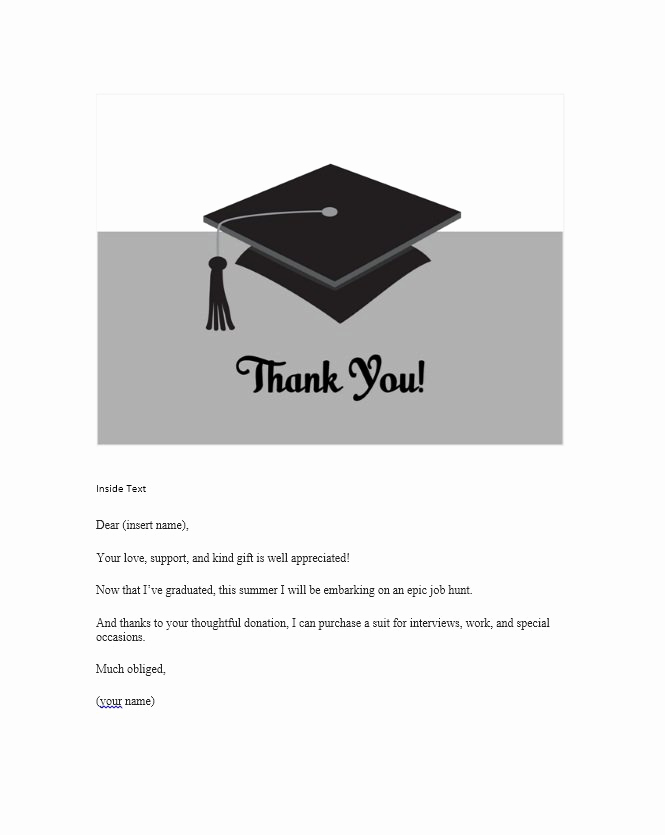 Graduation Thank You Letter Unique 30 Free Printable Thank You Card Templates Wedding