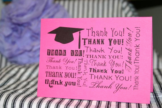 Graduation Thank You Notes Awesome Items Similar to Hot Pink & Black Graduation Thank You