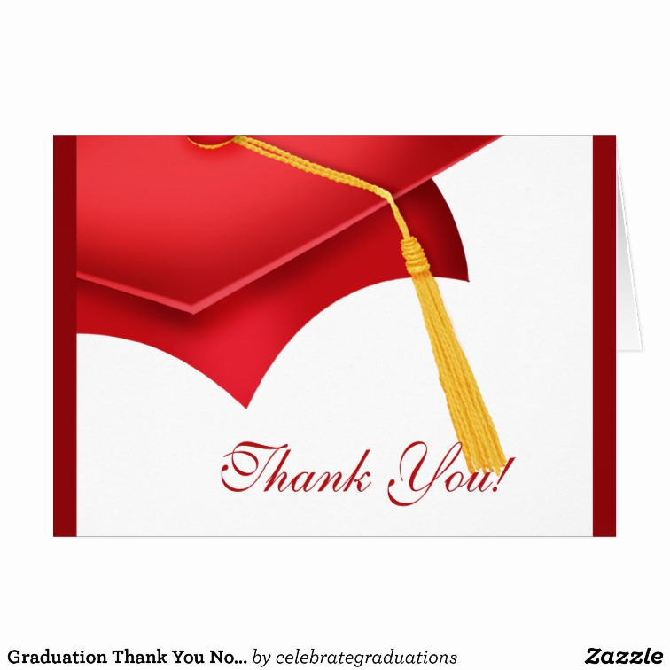 Graduation Thank You Notes Beautiful Graduation Thank You Note Card White Red Grad Cap