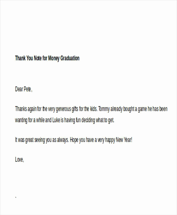 Graduation Thank You Notes Beautiful Sample Thank You Note for Money 7 Examples In Word Pdf