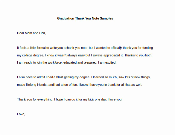 Graduation Thank You Notes Best Of 9 Sample Thank You Notes – Free Sample Example format