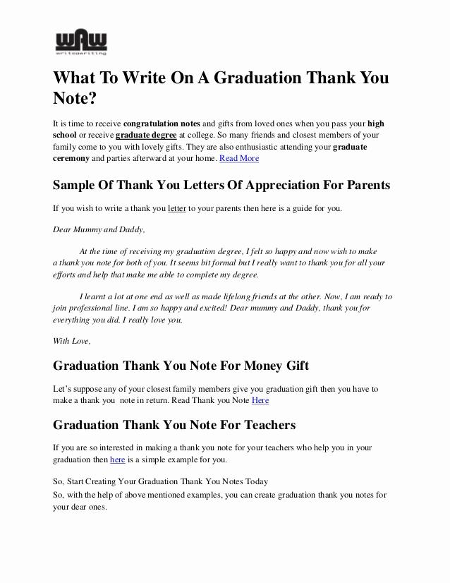 Graduation Thank You Notes Fresh What to Write On A Graduation Thank You Notes