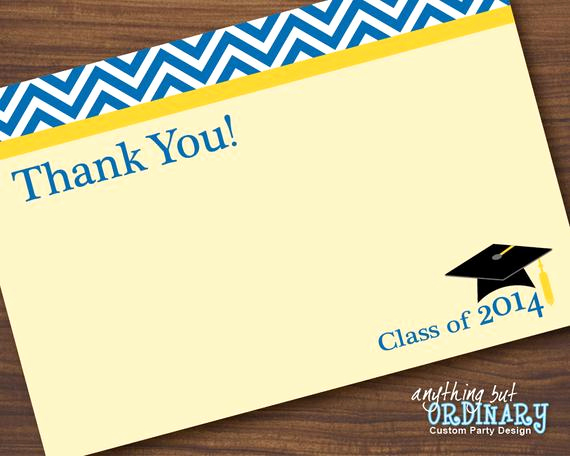 Graduation Thank You Notes Luxury Blue and Gold Graduation Thank You Note Chevron top Flat