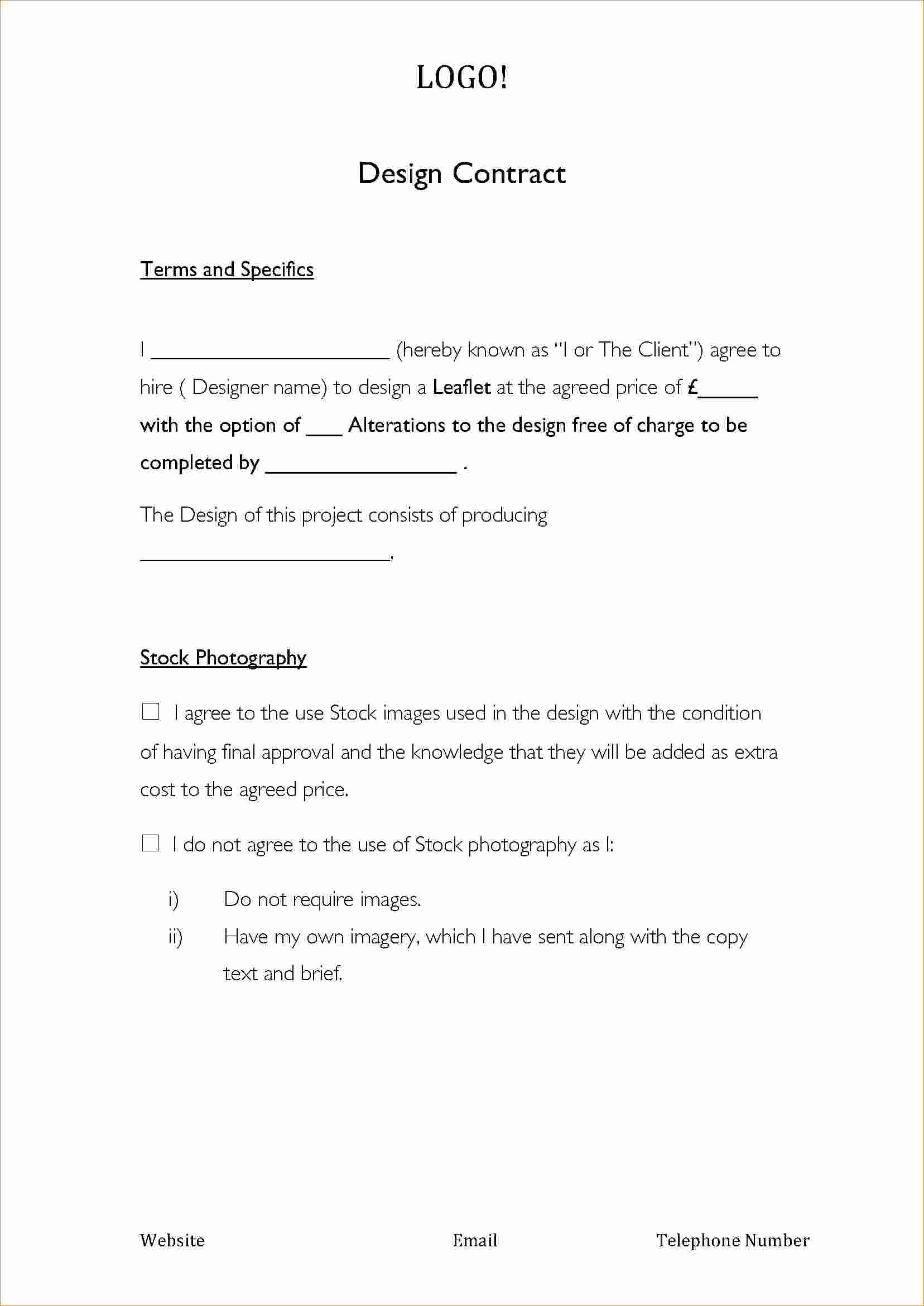 Graphic Design Contract Template Beautiful Logo Contract Template