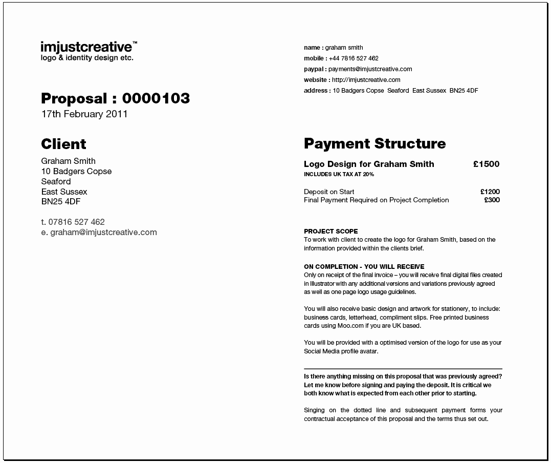 Graphic Design Contract Template Inspirational Freelance Logo Design Proposal Template for Download