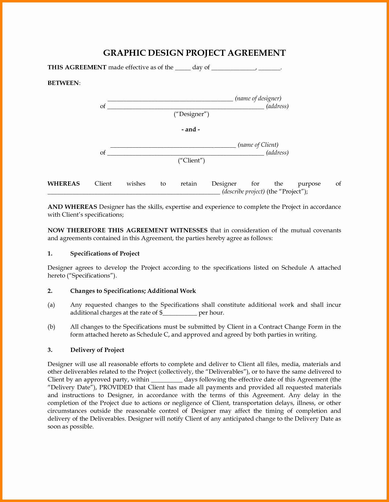 Graphic Design Contract Template Lovely 7 Graphic Design Contract