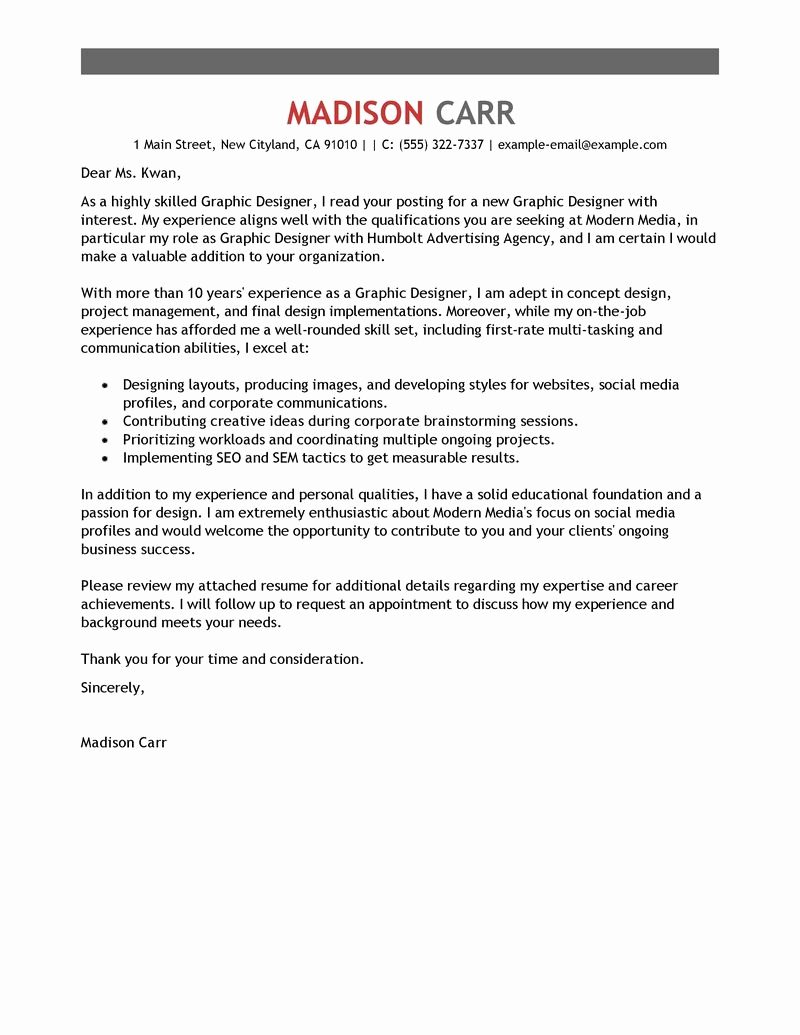 Graphic Design Cover Letter Examples Elegant Graphic Design Cover Letter