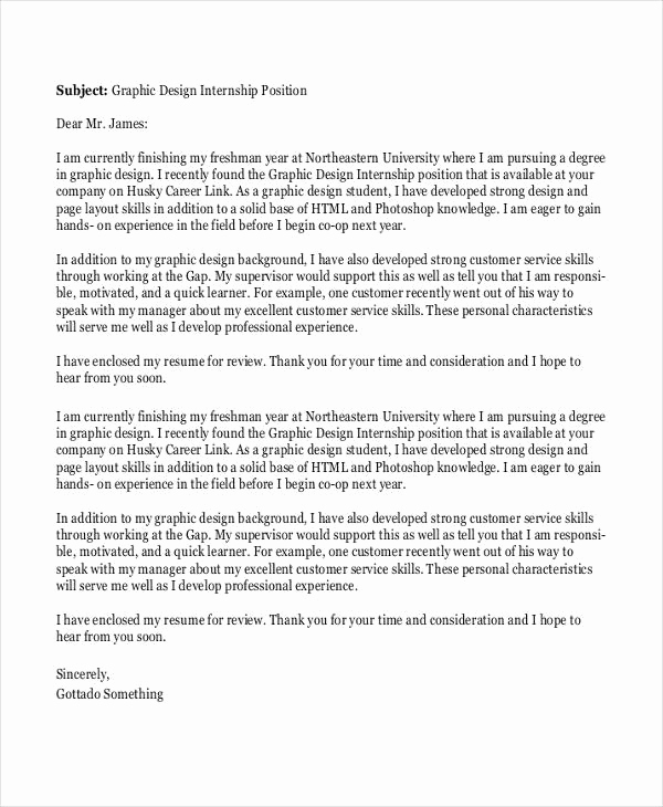 Graphic Design Cover Letter Examples Lovely 5 Job Application Letters for Graphic Designer Free