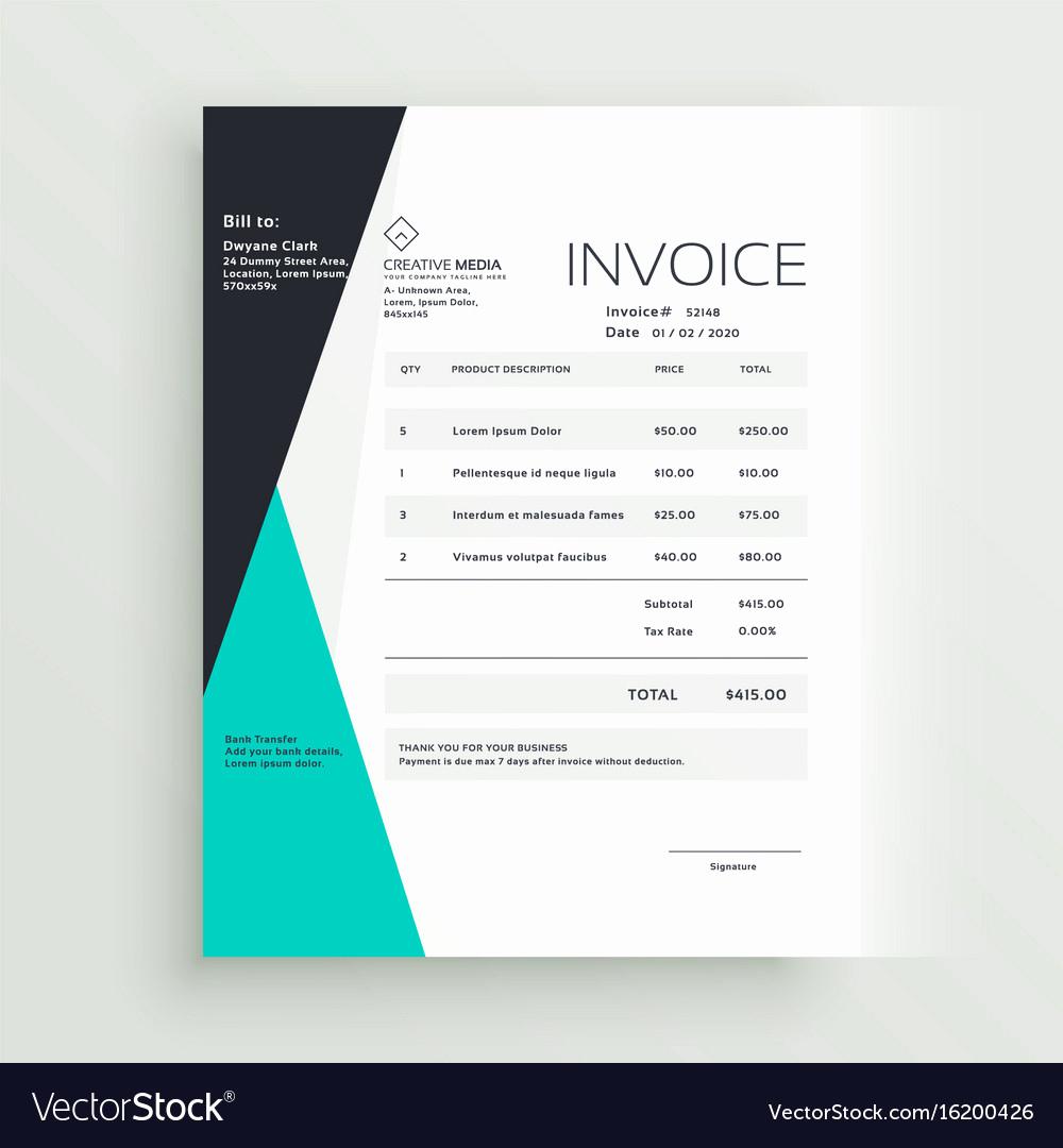 Graphic Design Invoice Template Unique Elegant Business Invoice Template Creative Design Vector Image
