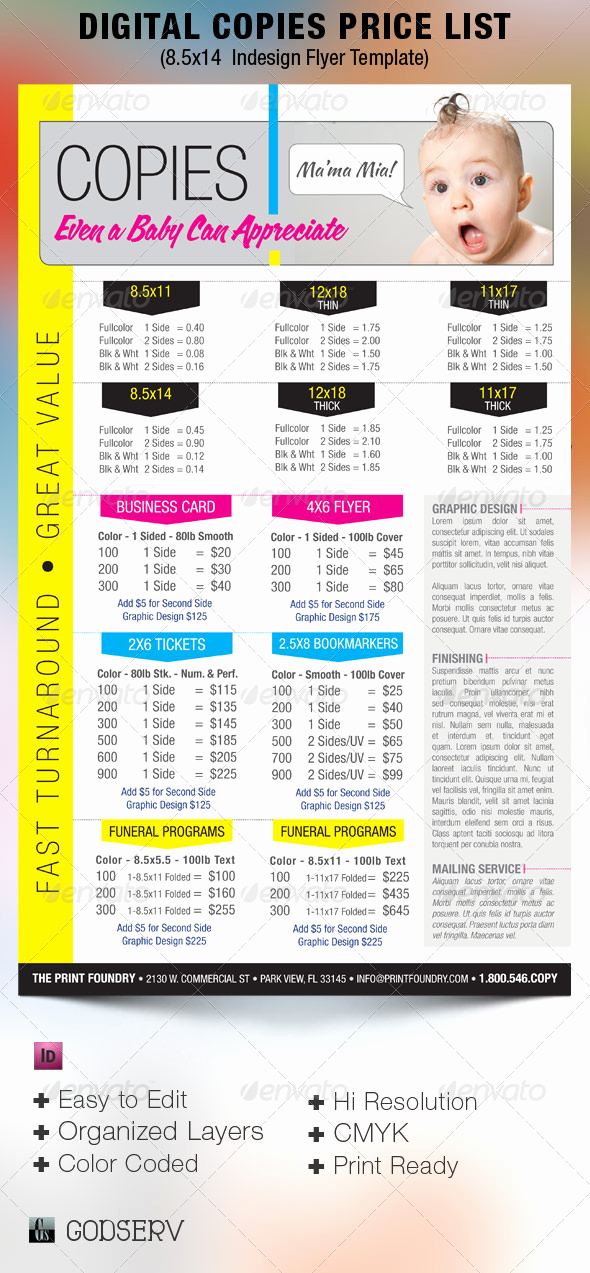 Graphic Design software List Awesome Digital Printing Price List Flyer Template