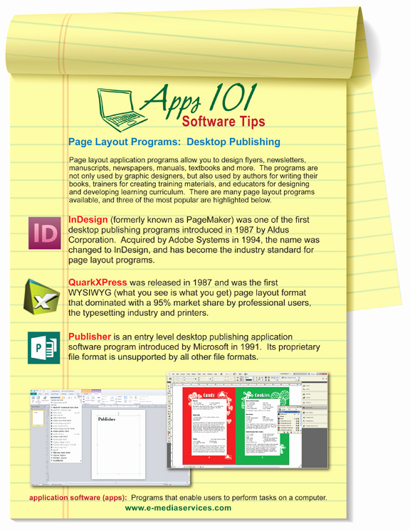Graphic Design software List Inspirational E Media Services Apps101 software Tips Page Layout