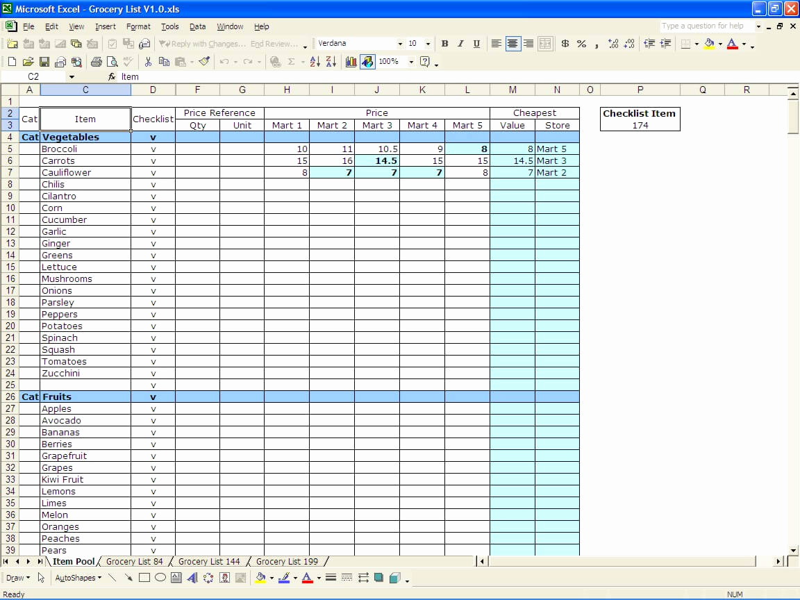Grocery List Template Excel Beautiful Grocery List