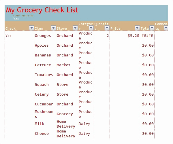 Grocery List Template Excel Best Of Sample Grocery List Template 9 Free Documents In Word