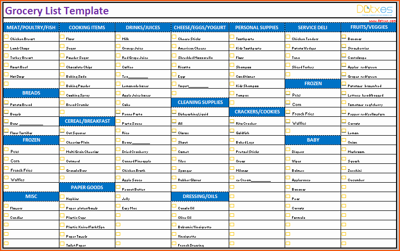Grocery List Template Excel Elegant 6 Excel Grocery List Bookletemplate