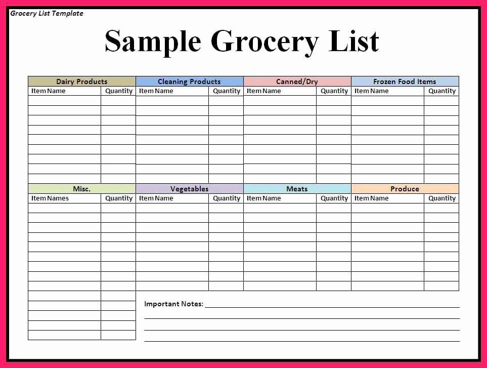 Grocery List Template Word Beautiful Grocery List Template Word