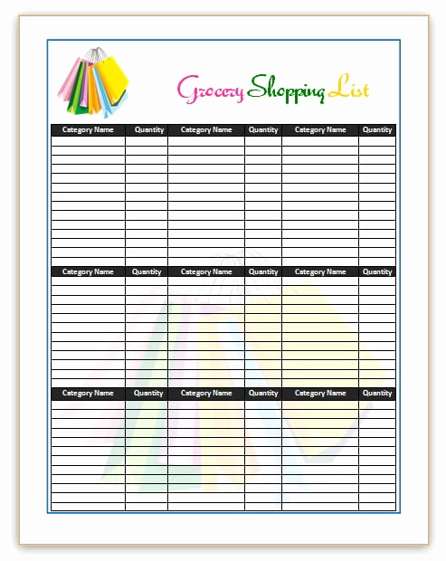 Grocery List Template Word Best Of 7 Shopping List Templates