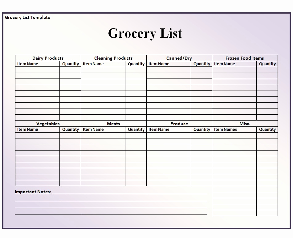 Grocery List Template Word Inspirational Grocery List Template Free formats Excel Word