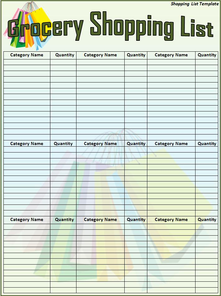 Grocery List Template Word Inspirational Shopping List Template