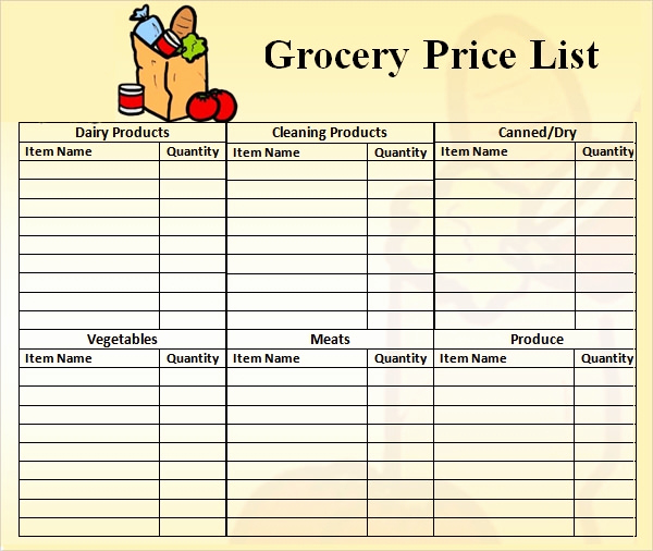 Grocery List Template Word Unique Price List Template 9 Download Free Documents In Pdf