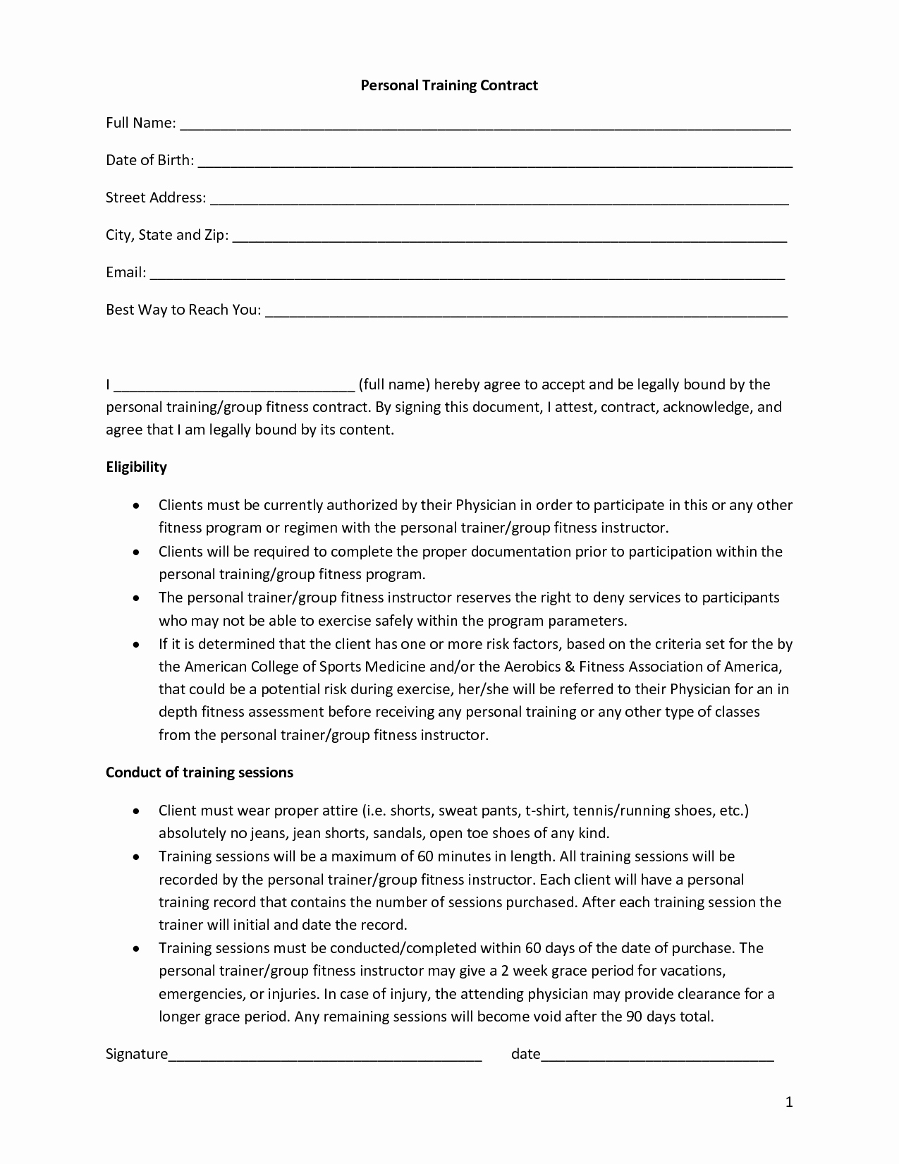 Gym Membership Cancellation Letter Lovely Personal Training Contract Template Free Printable Documents