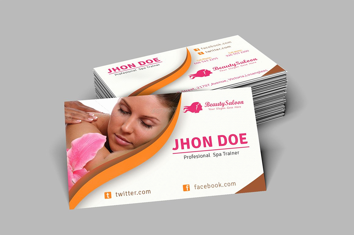 Hair Salon Business Cards Awesome Spa & Beauty Salon Business Card Business Card Templates
