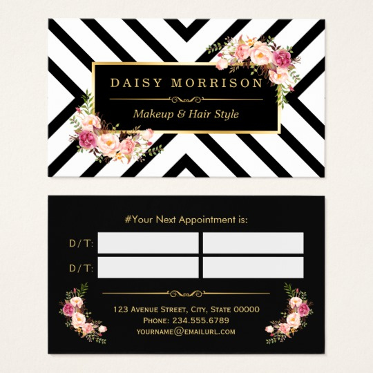 Hair Salon Business Cards New Hair Stylist Beauty Salon Gold Floral Appointment Business