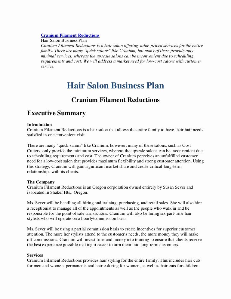Hair Salon Business Plan Fresh Business Plan Hairl Salon