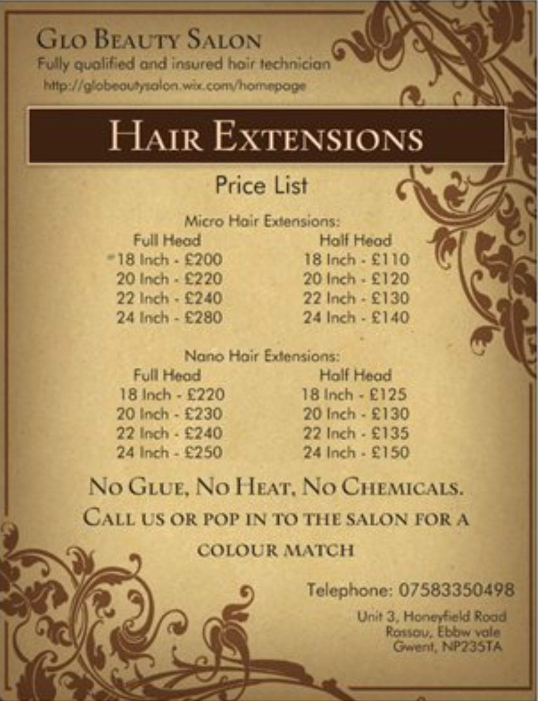 Hair Salon Price Lists Awesome Hair Extension Price List Advertising Pinterest